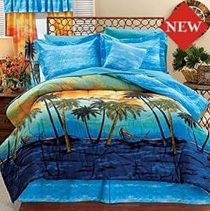 Amazon.com - Hawaiian Palm Tree Queen Comforter Set (4 ...
