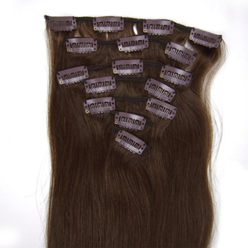 "18"" 7pcs Remy Clips in Human Hair Extensions 04 Medium Brown 70g for Women's Beauty Hairsalon in Fashion"