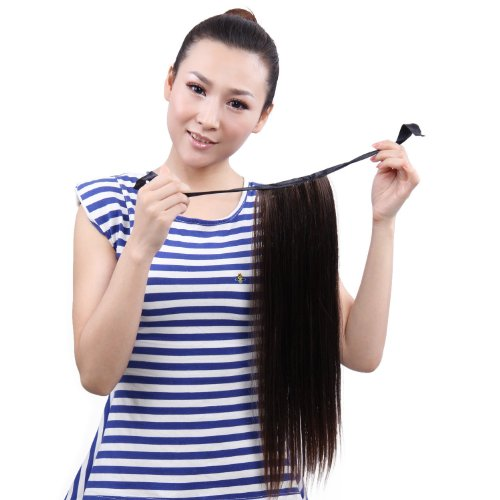 Nsstar 23 Inch Synthetic Hair Extensions Straight Ponytail - 3Colors Available (Brownish - Black)