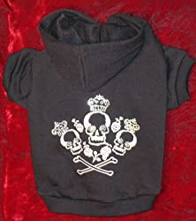 Crowned Crossbones Hoodie Sweatshirt Sweater Black Medium from HPD