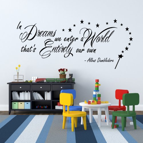 Harry Potter In Dreams We Enter Dumbledore Wall Sticker Vinyl Quote For Bedroom front-593893