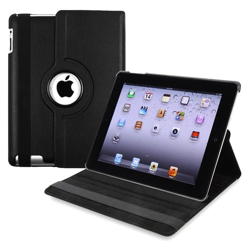 360-degree Swivel Leather Case Compatible with Apple? iPad? 2 / iPad? 3rd Gen / The new iPad?, Black