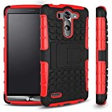 LG G3 Vigor Case, Sophia Shop 2 in 1 Heavy Duty Dual Layer Case with Built-in Kickstand, TANK Slim Fit Hybrid PC Hard Armor Back with Black Soft TPU Protective Cover Case for LG G3 Vigor 5 Inch Screen (Red)