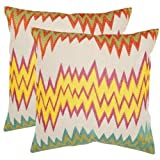 Safavieh Pillows Collection Ashley Decorative Pillow, 18-Inch, Neon Yellow, Set of 2