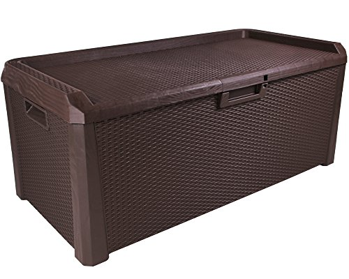kissenbox santo rattan optik sitztruhe auflagenbox braun 560 liter xxl. Black Bedroom Furniture Sets. Home Design Ideas