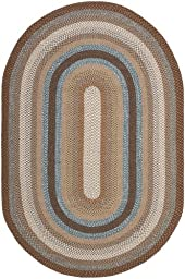 Safavieh Braided Collection BRD313A Hand Woven Brown and Multi Oval Area Rug, 5 feet by 8 feet Oval (5\' x 8\' Oval)