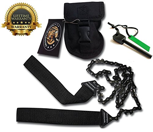 Sportsman Pocket Chainsaw 36 Inches Long With FREE Fire Starter! This Hand Saw Tool is Best for Survival Gear - Camping - Hunting or any Home Owner. Replaces a Pruning or Pole Saw. (Gear Vendors compare prices)