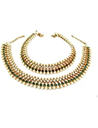 Glittering World Designer Green Stone And Pearl Alloy Crystal Anklets For Women