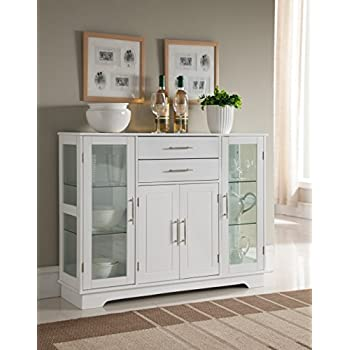 storage cabinet buffet with glass doors white - White Buffet Table