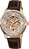 Akribos XXIV Mens AK410RG Saturnos Skeleton Automatic Gold Round Watch