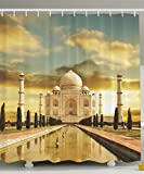 Taj Mahal Palace India Sunrise Beautiful Landscape World Wonders Temple Monument Symbol Tomb Home Bath Textile Print Art Decor Polyester Fabric Shower Curtain Blue Yellow Brown