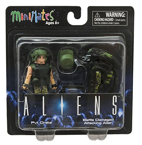 Aliens Minimates Pvt. Drake & Battle Damaged Attacking Alien Minifigure Set