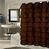 Betty Ruffled Voile Layers Shower Curtain 70 x 72 Chocolate