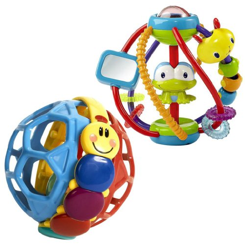 Bright Starts Clack And Slide Activity Ball With Baby Einstein Bendy Ball
