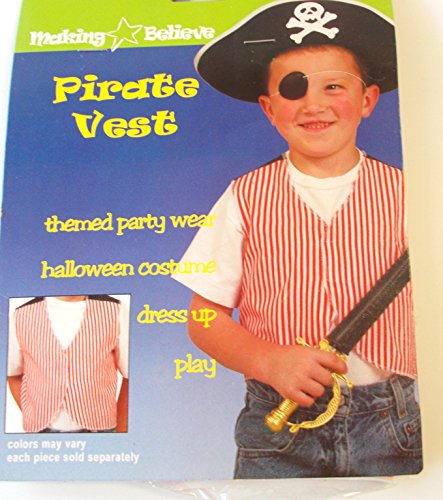 Red White Pirate Vest Party Favor Costume Accessory 3+ NIP