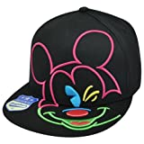 Disney Mickey Mouse Black Neon Colors Outlined Snapback Hat Cap Flat Bill