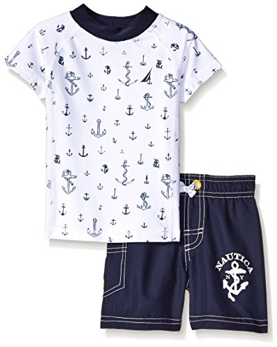 Nautica Baby Anchor Print Rashguard Set, Sport Navy, 12 Months