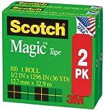 Scotch Magic Tape, 1/2 x 1296 Inches, Boxed, 2 Rolls (810H2)