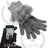 TouchPoint スマートフォン対応ファー付きニット手袋 グレー