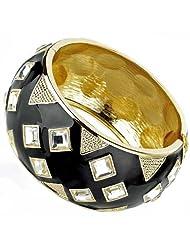 Ladies gold black enamel set with square diamante crystal stone spring hinge fashion bangle