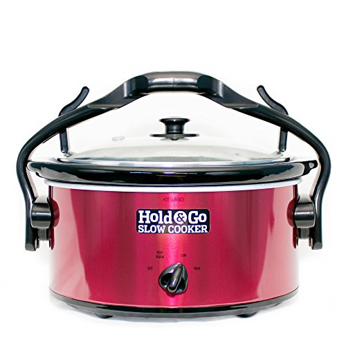 Hold & Go Slow Cooker (Red) - AS SEEN ON RACHAEL RAY - Leak Proof Lid with One Handed Carry - Handle Doubles as a Lid Holder - 5 Qt. Capacity (Lid Holder For Crock Pot compare prices)