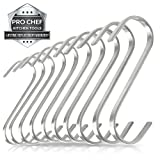 Pro Chef Kitchen Tools Premium S Shaped Hooks in 10 Pack Stainless Steel Metal (Flat Brushed Wide) thumbnail