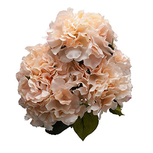 Derker Silk Artificial Hydrangea Bouquet 5 Big Heads Hydrangea Flowers Arrangement Home Wedding Centerpieces Decoration (champagne)