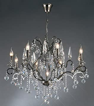 9 Light Shiny Black Chandelier Ceiling Light - HP010140