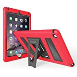 MoKo Apple iPad Air 2 Case - [Kickstand] Durable Hybrid Silicone + Hard Polycarbonate Kid Proof Extreme Duty [Shock-Absorption] with Foldable Stand Protective Cover for iPad 6 9.7 Inch Tablet, RED