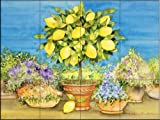 Lemon Tree by Kathleen Parr McKenna Tile Mural for Kitchen Backsplash Bathroom Wall Tile Mural
