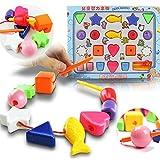 Juguetes de Aprendizaje Cordón de Plástico Encadenar Bloques Roscado Niños