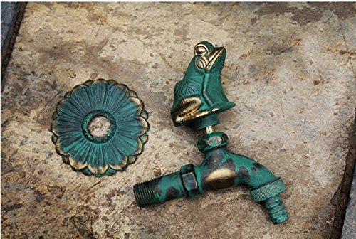 Aquafaucet Frog Decorative Solid Brass Garden Outdoor Faucet - With a Set of Brass Quick Connecter for 1/2