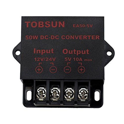 EPBOWPT DC 12V/24V to 5V 10A Converter Step Down Regulator Module for Car LED Project LED Light LED Strip Copper Strings DC Voltage Transformer 50W Power Supply (5v Led Light Strip compare prices)
