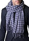 Men's Marco Blue Grey Plaid Check Wool Scarf, Super Soft, Lightweight, Tassels