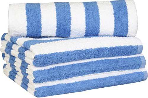 large beach towel pool towel in cabana stripe blue 4 pack 30x60 inches cotton by utopia towel home garden linens bedding towels towels - Large Beach Towels