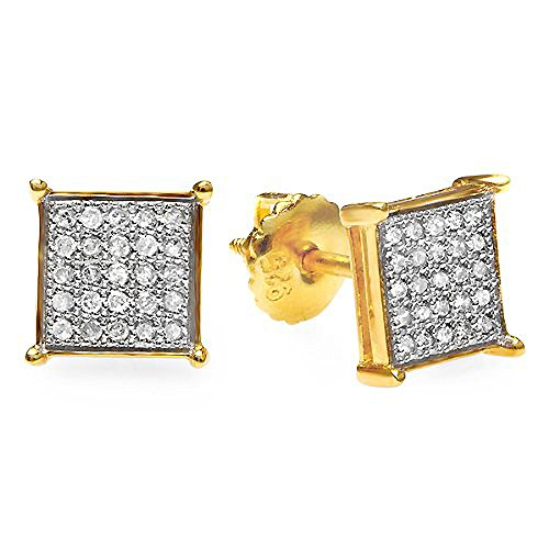 0.33 Carat (Ctw) 18K Yellow Gold Plated Sterling Silver Diamond Square Hip Hop Iced Stud Earrings 1/3 Ct
