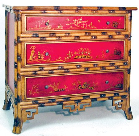 Cheap Unique Chinese Japanese Accent Furniture – 34″ Red Hand Painted Bamboo Design 3 Drawer Chest Server Console