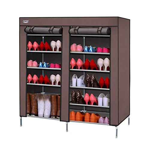 Ottff portable storage closet shoe organizer rack with 2 for Front door shoe storage