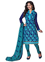 Dress Material Chanderi Blue Embroidered + Lace Unstitched