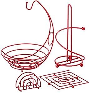 Ragalta RCKS-101R 4 Piece Useful Kitchen Organizer Set, Red