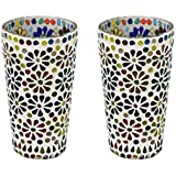 CraftJunction Set Of 2 Handcrafted Mosaic Glass Tea Light Holder(6.5*3.5 Inches)