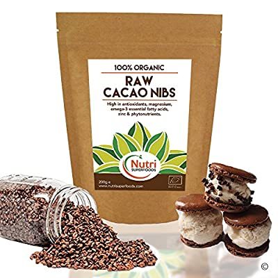 CACAO NIBS RAW & ORGANIC, Pure Vegan Dark Chocolate Ingredient, Unsweetened, Natural and Versatile, Premium Quality Magnesium Rich Superfood, Ideal for Power Smoothies, Protein Bars & Cookie