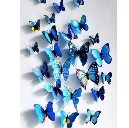 wall butterflies in blue