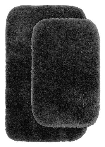 Garland Rug 2-Piece Finest Luxury Ultra Plush Washable Nylon Bathroom Rug Set, Dark Gray front-298463