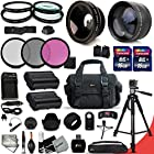 Ultimate 32 Piece Accessory Kit for Nikon D750, Nikon D7200, D7100, D7000, D810, D800, D800E, D610, D600, 1V, DSLR Cameras Includes 58mm High Definition 2X Telephoto Lens + 58mm High Definition Wide Angle Lens + Ring Adapters raging from 46-58mm + 2 High Capacity EN-EL-15 ENEL15 Batteries with Quick AC/DC Charger + 32GB High Speed Memory Card (2x 16GB) + Full Size Pro Series 72 Inch Tripod + Large Well Padded Case + 52mm 4 Piece Close-up Macro Filter Set + 52mm 3 Piece Filter Set + 52mm UV Protection Filters + 52mm Hard Lens Hoods + 52mm Rubber Lens Hood + Universal Remote Control + Universal Card Reader + Mini Table Tripod + Memory Case Holder + Screen Protectors + Mini Blower + Cleaning Pen + Lens Cap Holder + Deluxe Cleaning Kit + Ultra Fine HeroFiber Cleaning Cloth