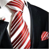 Paul Malone Necktie, Pocket Square and Cufflinks 100% Silk Red White