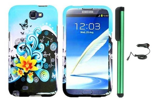 =>>  Butterfly Yellow Lily Flower Blue Splash Premium Design Protector Hard Cover Case for Samsung Galaxy Note II N7100 (AT&T, Verizon, T-Mobile, Sprint, U.S. Cellular) Android Smart Phone + Luxmo Brand Car Charger + Combination 1 of New Metal Stylus Touch Screen Pen (4