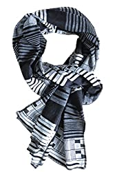 Dana Herbert Oblong Scarf White with Black and White Geometric Print Made in USA
