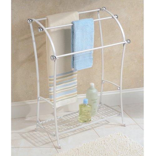 Mdesign free standing towel rack for bathroom pearl - Bathroom towel racks free standing ...