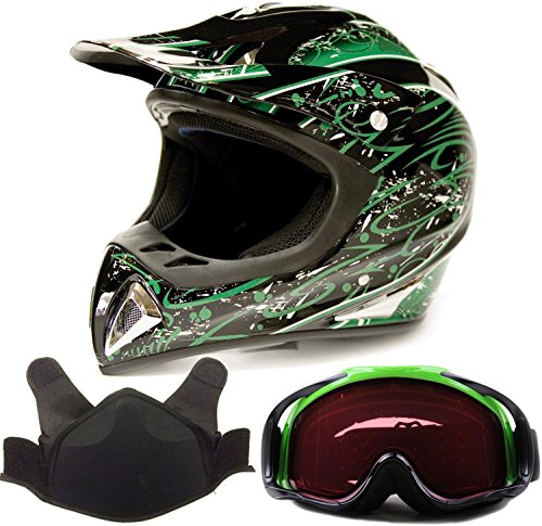Adult Snocross Snowmobile Helmet & Goggle Combo - Green , Green ( Large ) (Snow Machine Helmet compare prices)